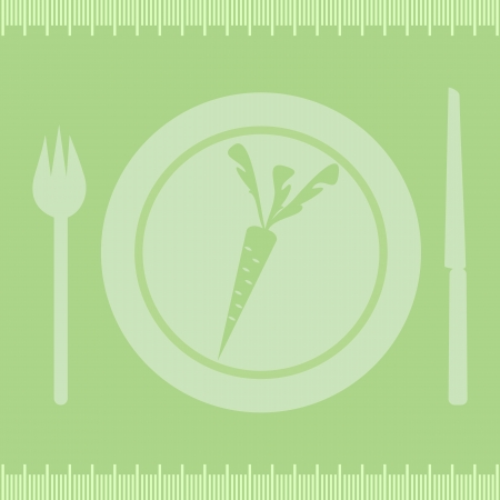 Healthy diet carrotFrame measuring tape boarder with carrot on plate, fork and knife. Vector