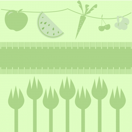 Healthy diet fruits, veggies and forks/Frame measuring tape boarder for text, fruits and veggies above, forks below.