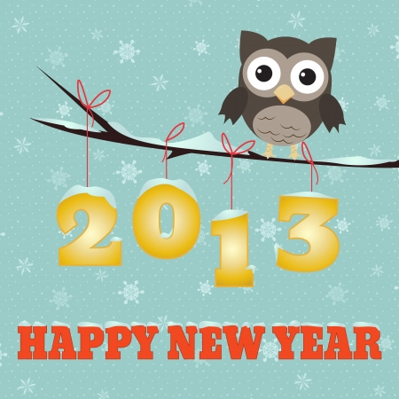 Owl Happy new year 2013/Little brown owl on branch and snowy 2013 happy new year text Stock Illustratie