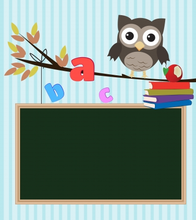 literatures: Owl back to schoolLittle brown owl on branch with chalkboard,letters and books