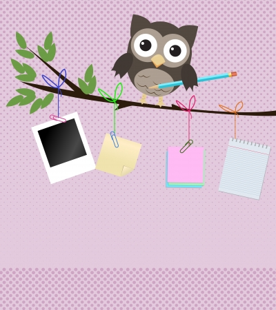 shapes cartoon: B�ho Ocupado  Peque�a lechuza marr�n en rama con l�piz y diferentes tipos de papeles de nota que cuelga de la rama