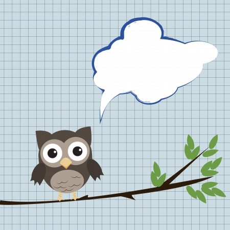 Owl with speech bubbleLittle brown owl on branch with speech bubble sitting on branch Vector