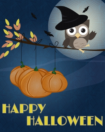 Owl Happy Halloween Little brown owl with witch hat on, sitting on branch as it was broom, with pumpkins and happy Halloween text Vector