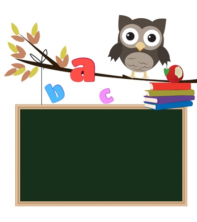 Owl back to school isolated Little brown owl on branch with chalkboard,letters and books photo