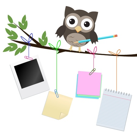 Busy owl isolated on white Little brown owl on branch with pencil and different kind of note papers hanging of the  branch Banque d'images