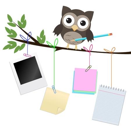 civetta bianca: Occupato gufo isolato su bianco civetta marrone sul ramo con matita e diversi tipi di documenti di nota appesa del ramo