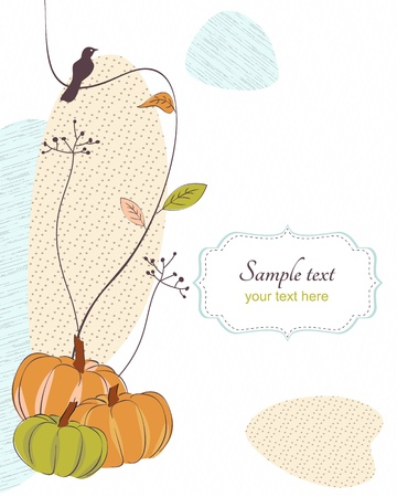 Autumn retro background with bird,flora, pumpkins and frame for text Vector