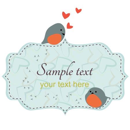 vogelspuren: Paar cute love birds  Paar niedlichen Vögel sitzen auf dem Rahmen mit Vogel Titel und Herzen