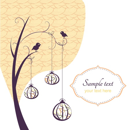Abstract background, tree with birds and hanging pumpkins(ornaments) with pattern.
