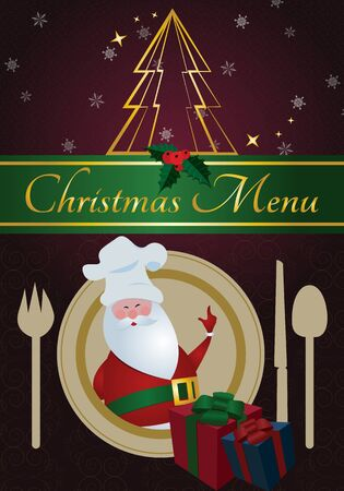 Christmas MenuSanta with chefs hat,dinnerware ,presents,and golden Vector
