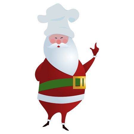 Chef Santa/Santa with chefs hat posing, isolated on white