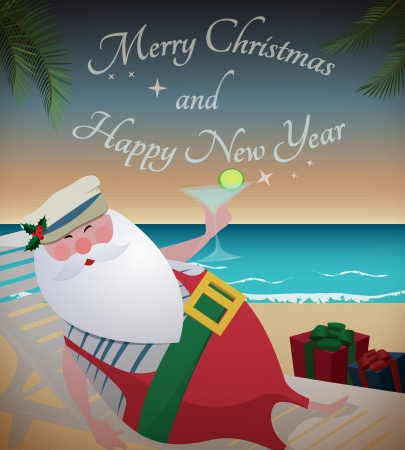 Santa relaxing on tropic beach/Santa relaxing on tropic beach with martini,gifts Vector