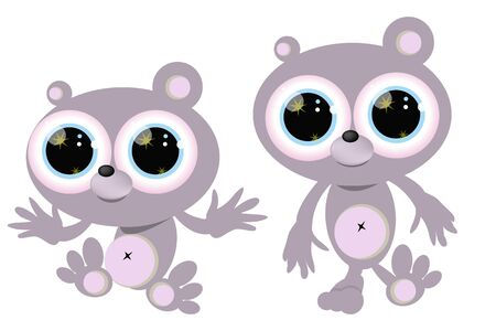 Little bear character Cute little bear character in two poses isolated on white Vector