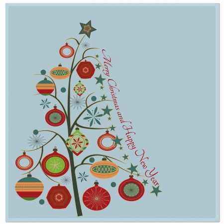 Christmas tree Stylish retro Christmas tree with Merry Christmas and Happy New year greeting text Vector