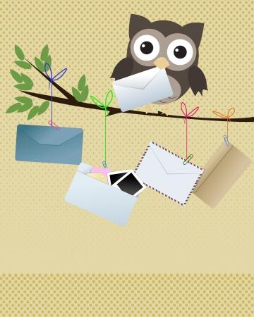 facteur: Hibou vous got mail Petit hibou brun sur la branche avec diff�rents types d'enveloppes pendaison de la branche