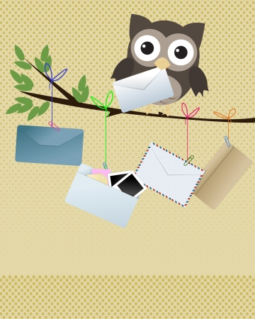 cartero: Owl you got mail Peque�a lechuza marr�n en rama con diversos tipos de sobres que cuelga de la rama