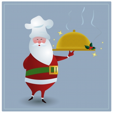 Chef SantaSanta with chefs hat, holding golden serving dish  Vector