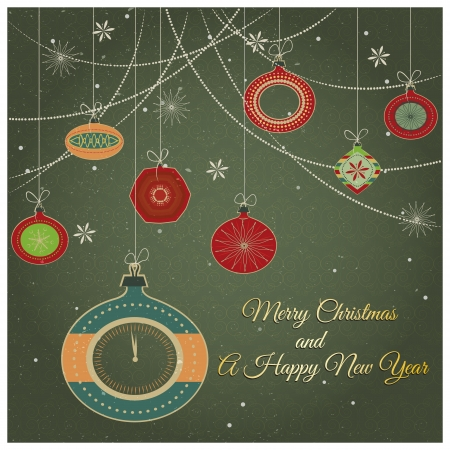 Stylish retro Christmas ornaments Stylish retro Christmas ornaments with Merry Christmas and Happy New year greeting text and fancy clock