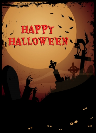 Halloween graveyardNight at graveyard with tombstones, zombie hands and cat,Happy Halloween text Vector