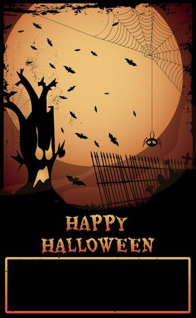 Halloween Haunted Tree/Night at graveyard with haunted tree,tombstones,and spider,Happy Halloween text and copy-space Stock Vector - 15567654