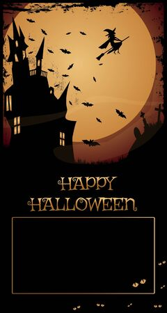 abandoned house: Halloween Haunted House Night with full moon,haunted house,flying witch and bats,Happy Halloween text and copy-space