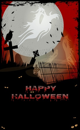 Night at graveyard with tombstones, ghosts, crow,Happy Halloween text and copy-space Stock Vector - 15647986