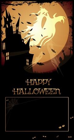 halloween poster: Halloween Haunted House  notte con la casa stregata, cimitero, fantasmi, corvo, Happy Halloween testo e copia-spazio