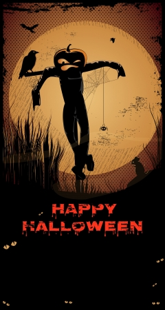 Halloween ScarecrowNight with full moon,scarecrow, crow,Happy Halloween text and copy-space Vector