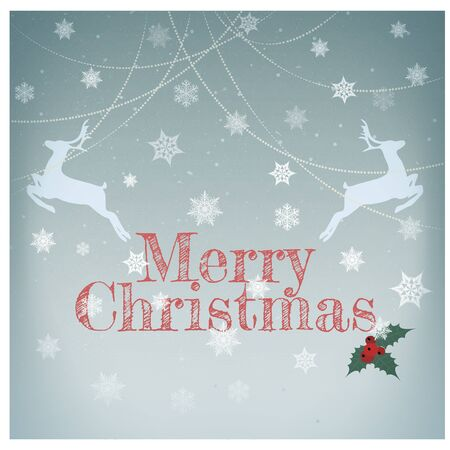 Stylish retro Christmas card/Stylish retro Christmas card with deers and Merry Christmas  greeting text Stock Photo - 15826376