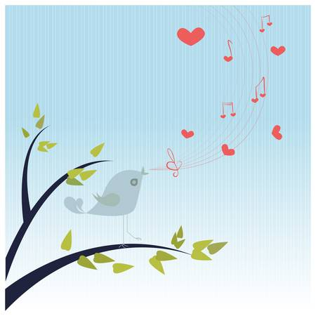 Love Song/Bird singing a love song with hearts and notes Stock Vector - 15826372