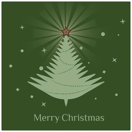 Christmas treeStylish retro Christmas tree with Merry Christmas greeting text  Vector