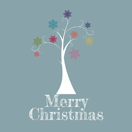 Minimal Christmas Tree Card/Minimal Christmas Tree Card with colorful snowflakes and Merry Christmas text Stock Vector - 15910552