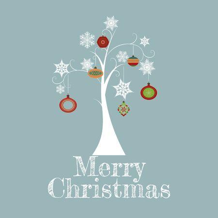 Minimal Christmas Tree Card/Minimal Christmas Tree Card with snowflakes,ornaments and Merry Christmas text Stock Vector - 15910553