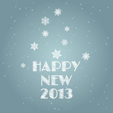 Minimal Happy New Year background/Minimal Happy New Year Card with snowflakes and Happy New Year text Stock Vector - 15910556