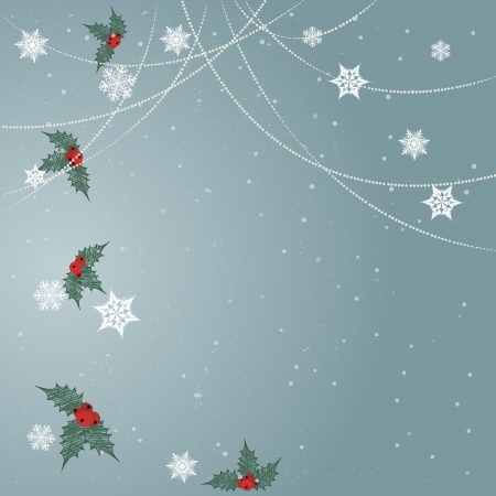 Minimal Christmas backgroundMinimal Christmas background with snowflakes,ornaments and holly leaves Illustration