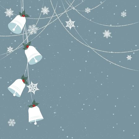Minimal Christmas background/Minimal Christmas background with jingle bells and snowflakes Stock Vector - 15910555