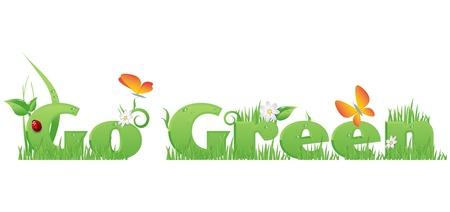 Go Green tekst  Go Green tekst versierd met bloemen, gras, waterdruppels, lieveheersbeestje en vlinders