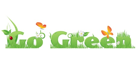 Go Green textGo Green text decorated with flowers,grass,water drops, ladybug  and butterflies Vector