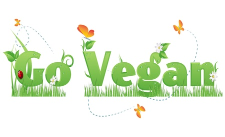 Go Vegan textGo Vegan text decorated with flowers,grass,water drops, ladybug  and butterflies Illustration