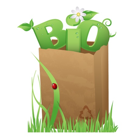 Bio bag Recycled paper bag with fun Bio text in it Stock Vector - 16218668