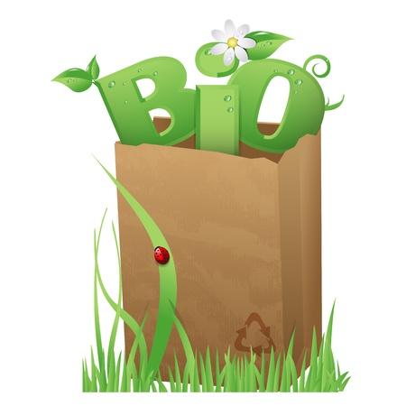 pesticida: Bio bolsa bolsa de papel reciclado con un texto divertido Bio en ella Vectores