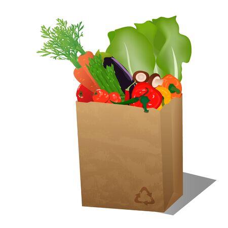 Sac de papier recyclé sopping avec des légumes