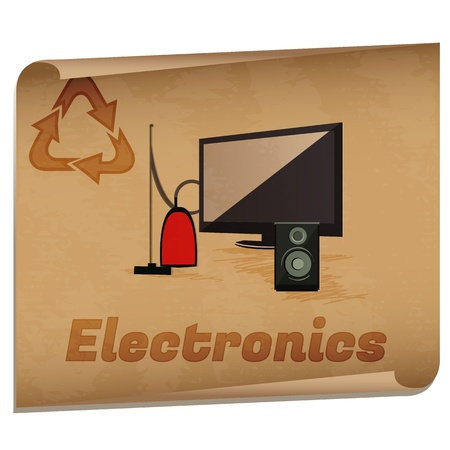 Recycling electronics memo/Retro recycling banner with electronic devices Stock Vector - 16494533