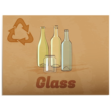 Recycling glass memoRetro recycling banner with glass bottles and jar Vector