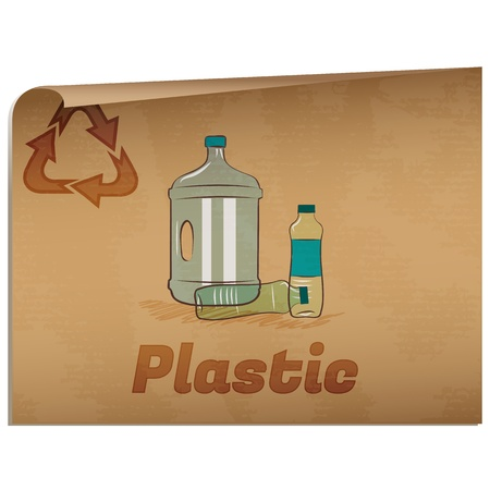 Recycling plastic memo/Retro recycling banner with plastic bottles Stock Illustratie