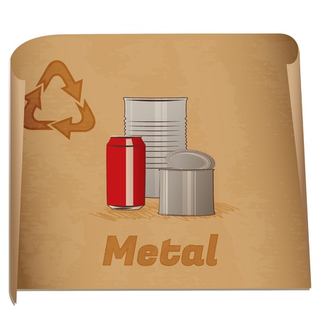 Recycling metal memo/Retro recycling banner with metal cans. Stock Vector - 16494532