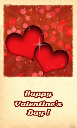 Happy Valentine's day card/Retro Happy Valentine's day card with two red hearts and burst behind them, on old paper like background Stock Photo - 16479777
