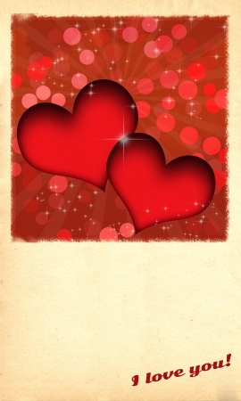 Retro Valentine's day card/Retro Valentine's day card with two red hearts and burst behind them, on old paper like background,