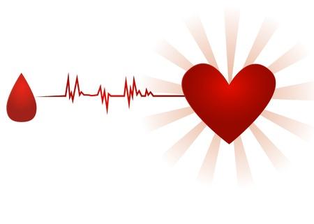 Bloeddonatie  Oud papier pictogram met druppel bloed te gaan met ecg tot hart, geïsoleerd op wit