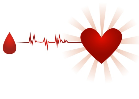 Blood donation/Old paper icon with drop of blood going with ecg to heart, isolated on white Stock Photo - 16784675